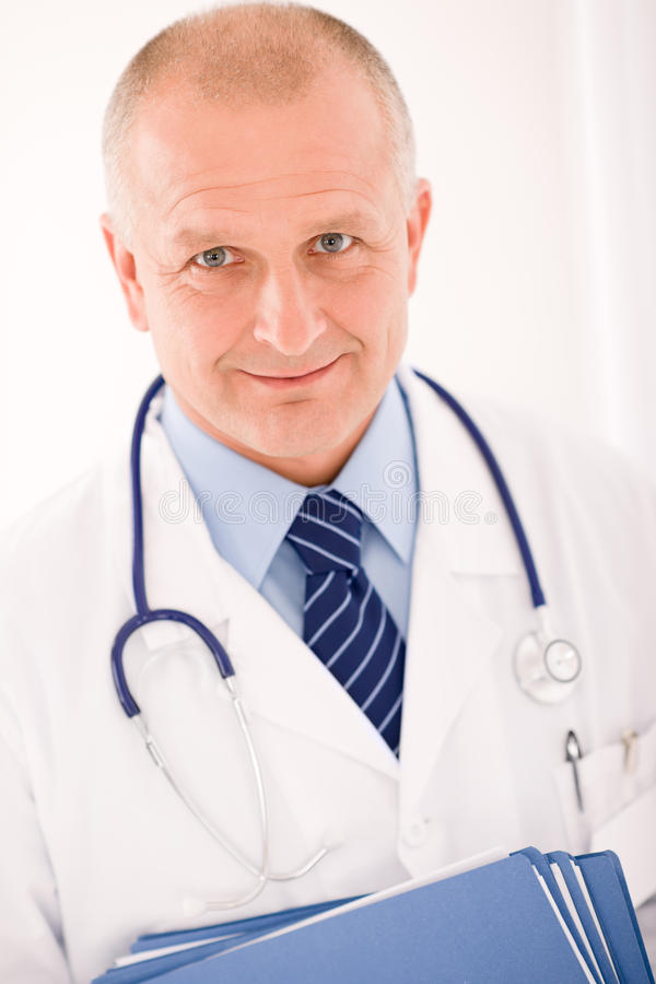 Free Mature Doctor Male Portrait With Folders Stock Images - 21857044