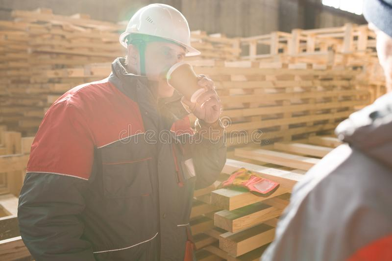 Mature Factory Worker at Coffee Break royalty free stock photography