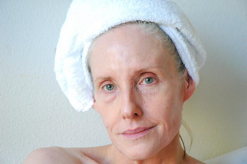 Mature female beauty expressions. stock photography
