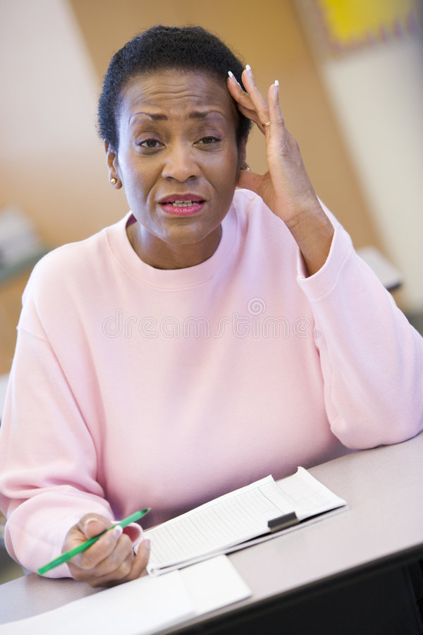 Download Mature Female Student Looking Confusion In Class Stock Images - Image: 5947994