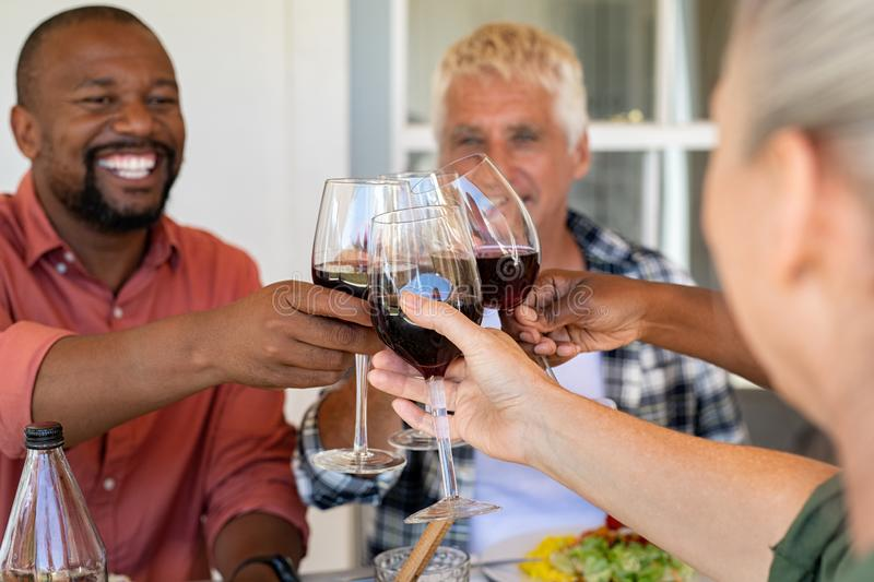 Mature friends cheering with wine glasses stock images