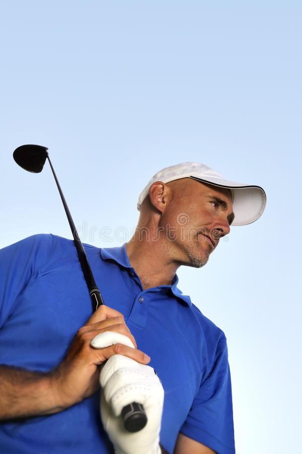 Mature golf player royalty free stock photo