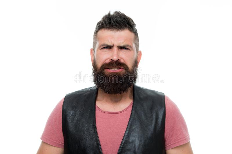 Mature hipster with beard. Bearded man. Hair and beard care. Facial care. Young and brutal. Male barber care. awkward stock image