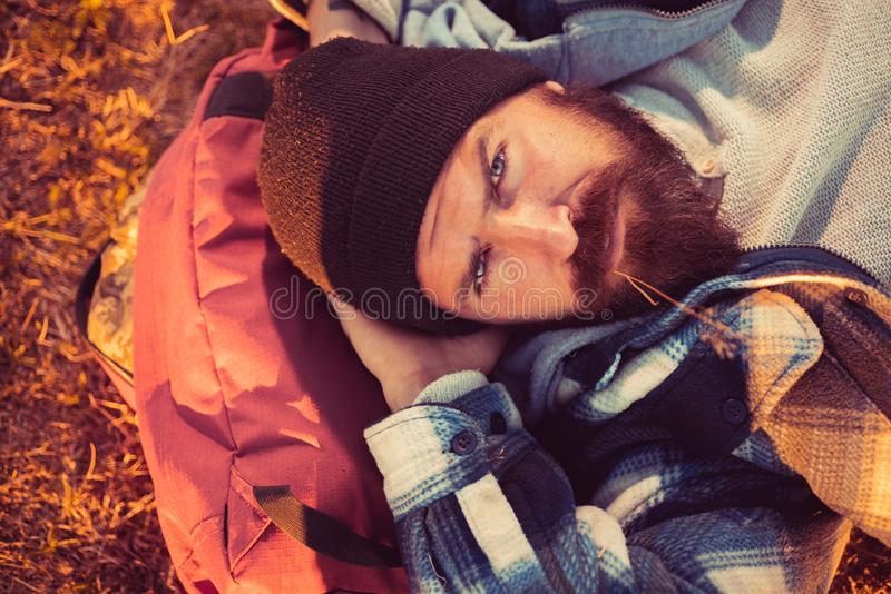 Mature hipster with beard. brutal caucasian hipster with moustache. Bearded man. Confident brutal man relax on camping stock photo