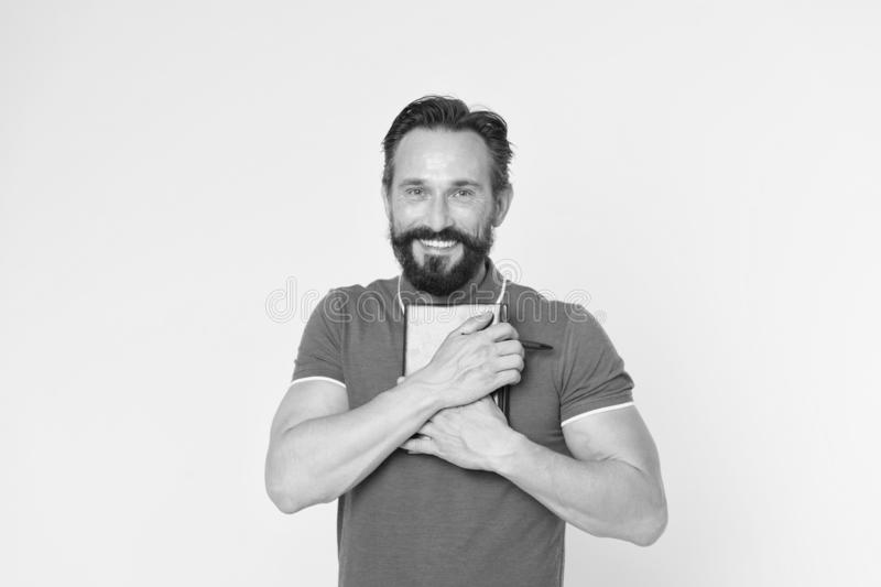 Mature hipster with beard. brutal caucasian hipster with moustache. Bearded man. Male barber care. happy man with royalty free stock photos