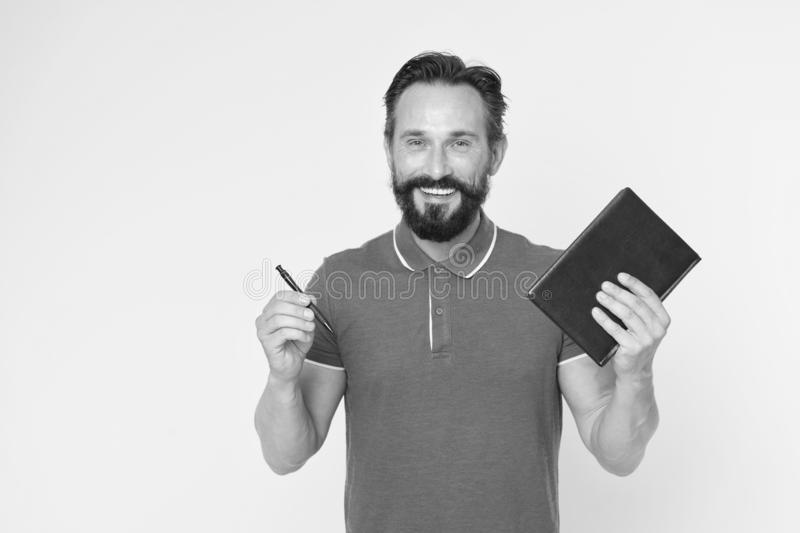 Mature hipster with beard. brutal caucasian hipster with moustache. Bearded man. Male barber care. writing new ideas. Happy man with notebook and pen. Really stock photos