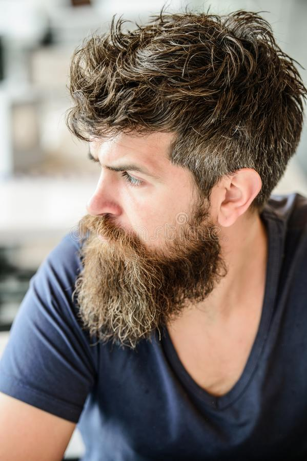 Mature hipster with beard hair. brutal male needs barber. waiting and tinking. thoughtful man outdoor. Facial skin care. Bearded man feel loneliness. Male stock image