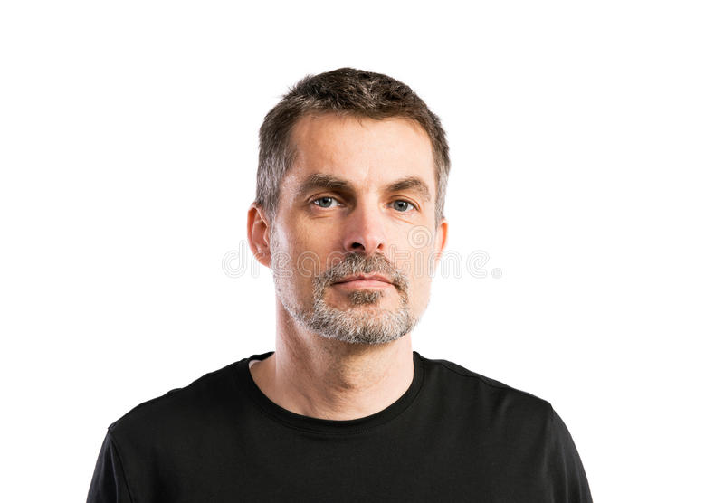 Mature hipster man in black t-shirt. Studio shot, isolated. royalty free stock image