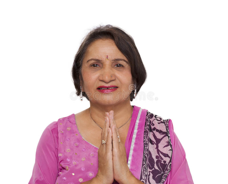 Download Mature Indian Woman Namaste Greeting Stock Photo - Image of healthy, adult: 22495034