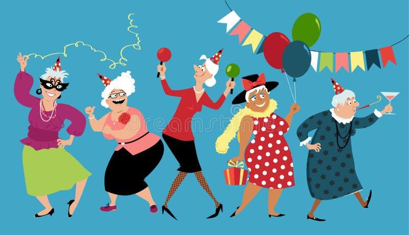 Senior ladies celebrate stock illustration