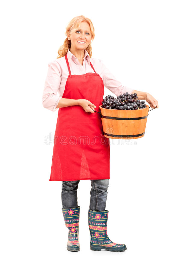 Mature lady holding a bucket full of grapes royalty free stock image