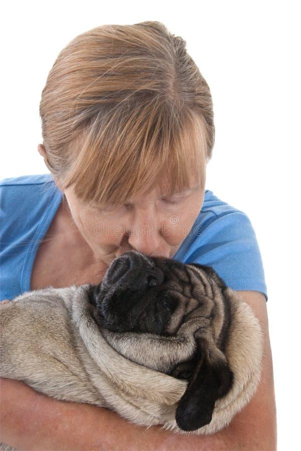 Download Mature Lady Holding A Pug Dog Stock Image - Image of female, smooching: 8762349