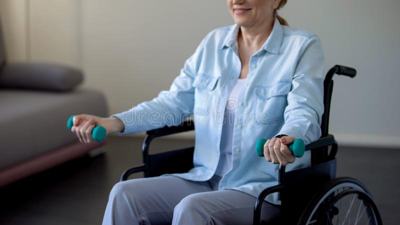Mature lady sitting in wheelchair and trying to lift dumbbells, rehabilitation royalty free stock photography
