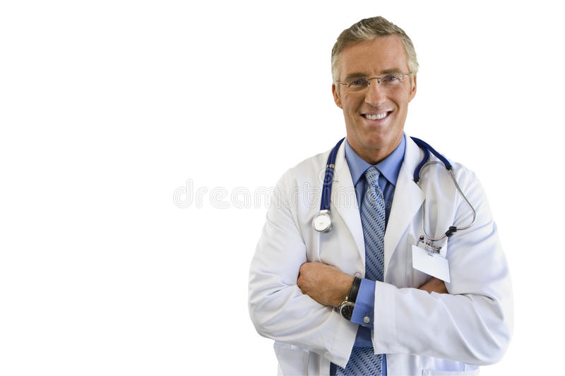 Mature male doctor smiling, portrait, cut out royalty free stock photo