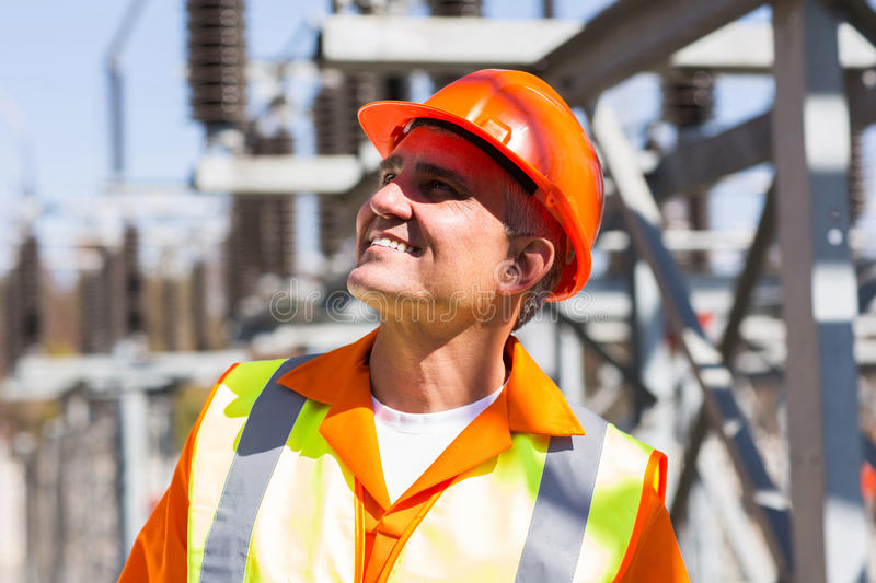 Mature male electrician royalty free stock image