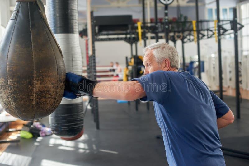 Mature man boxing punching bag. royalty free stock photos