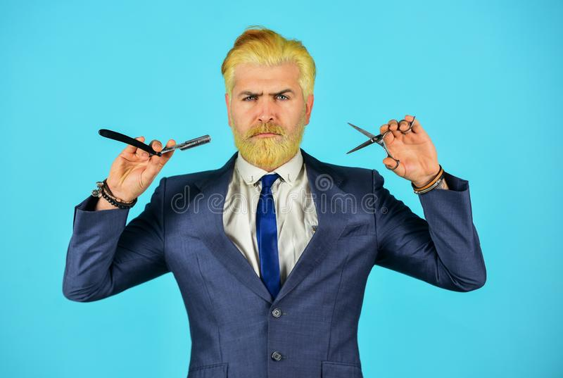 Mature man dyed beard and hair. grooming for formal meeting. male beauty and personal hygiene. professional barber cut stock photo