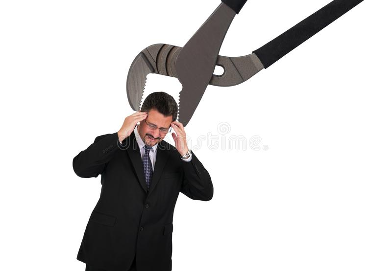 Mature Man with head in groove lock pliers royalty free stock photography