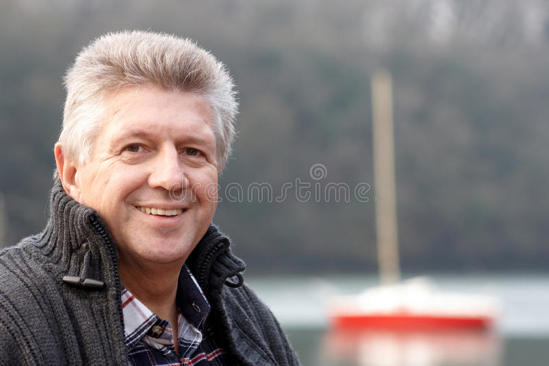 Mature man head and shoulders stock images