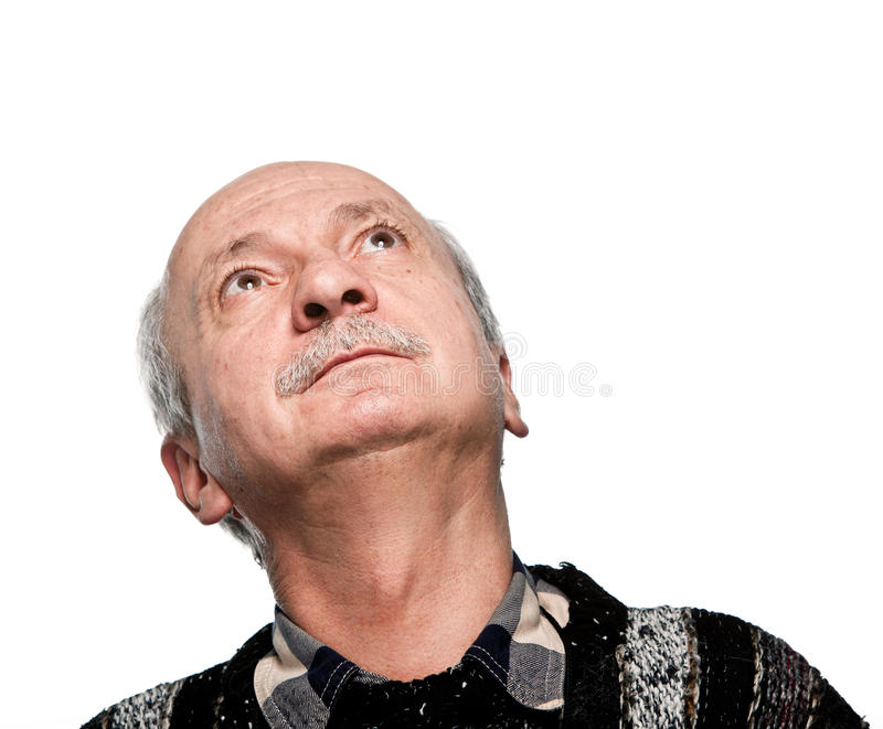 Mature man looking up royalty free stock images