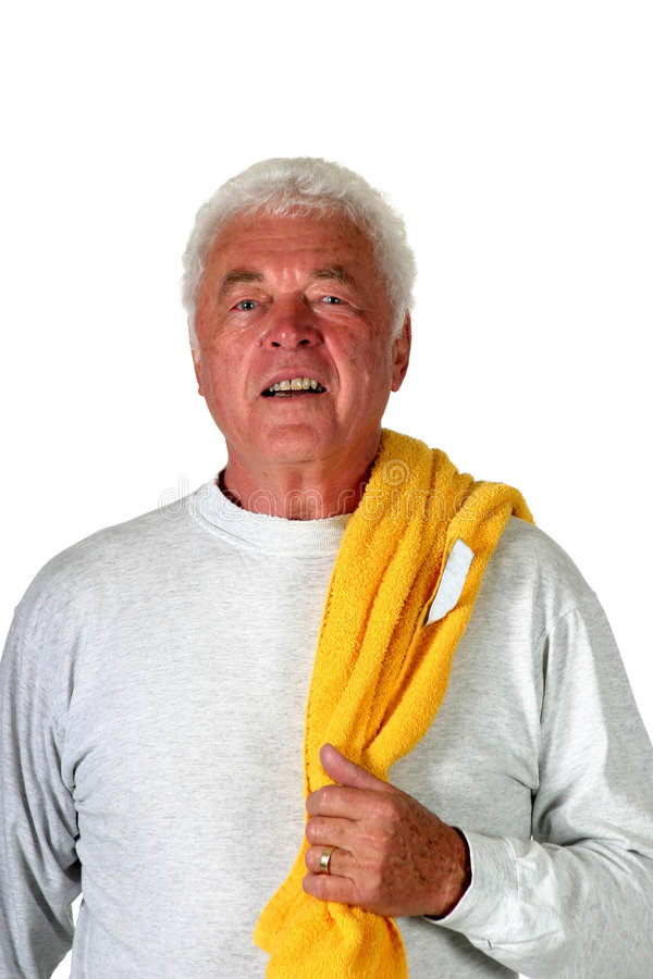 Mature man ready for a work-out stock photography