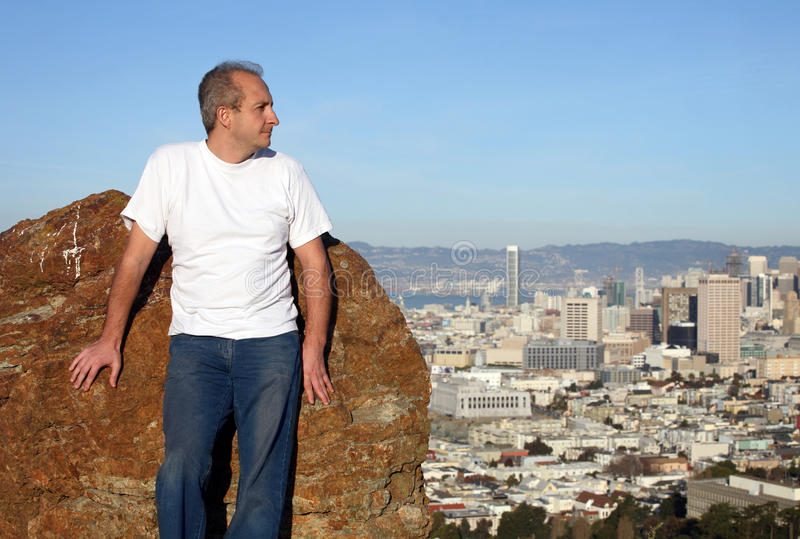 Mature man in San Francisco stock photography