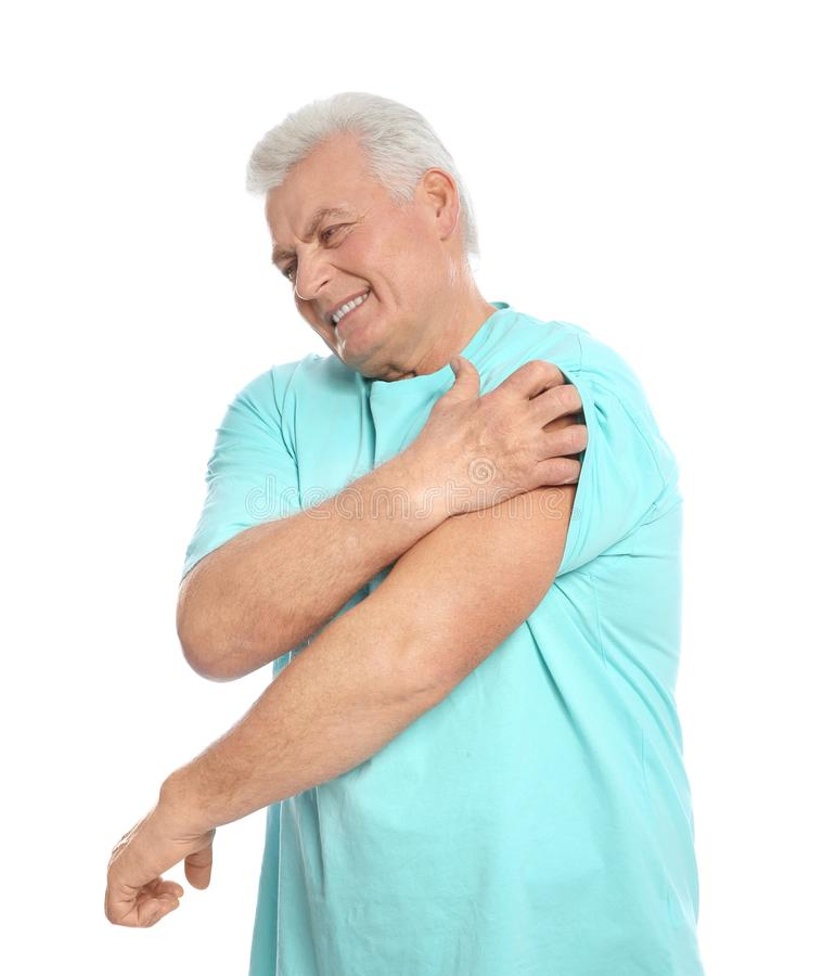 Free Mature Man Scratching Arm On White. Annoying Itch Stock Image - 138158581