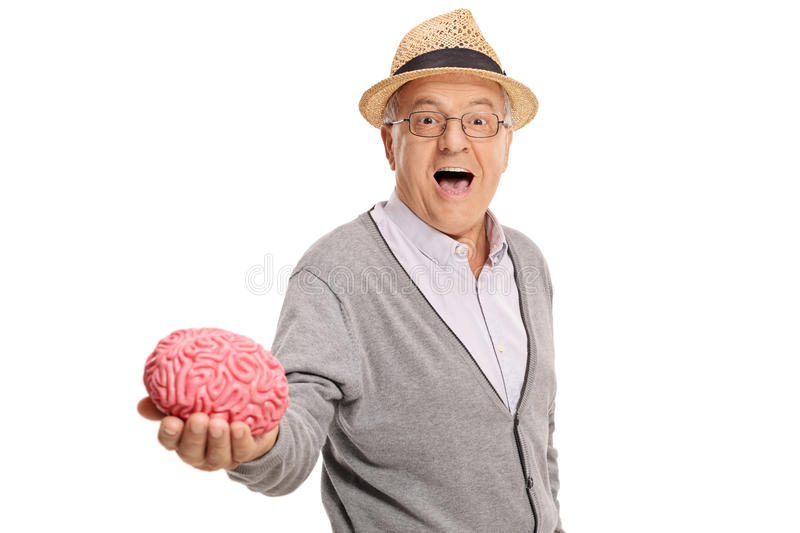 Mature man showing a brain model stock image