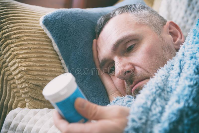 Mature man suffering from depression royalty free stock images