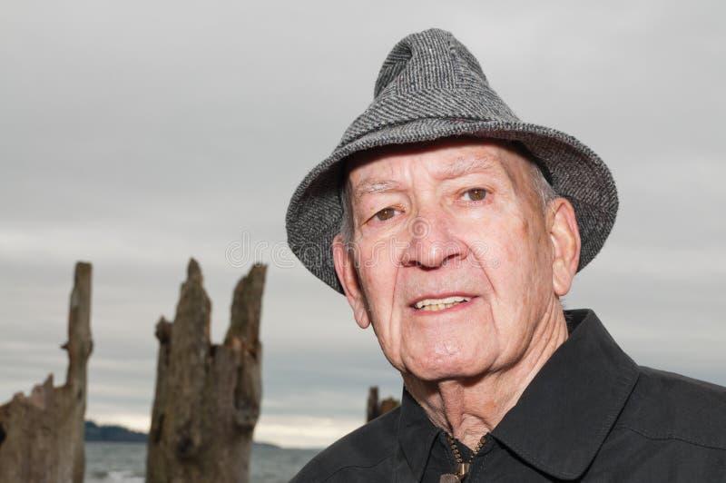 Mature Man in Tweed Rain Hat stock photo