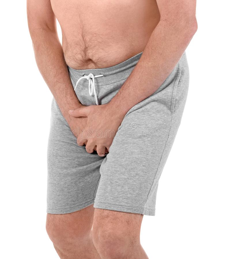 Mature man with urological problems suffering from pain stock images