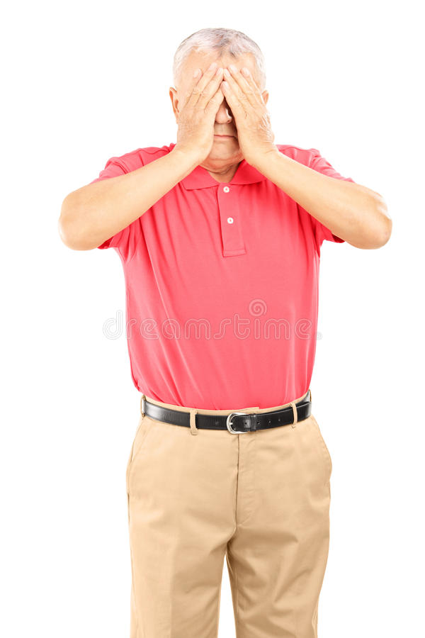 Free Mature Man With Hands Over His Eyes Stock Images - 34440494