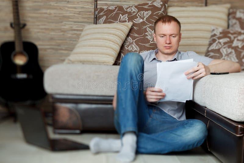 Mature Man Working At Home Stock Photos
