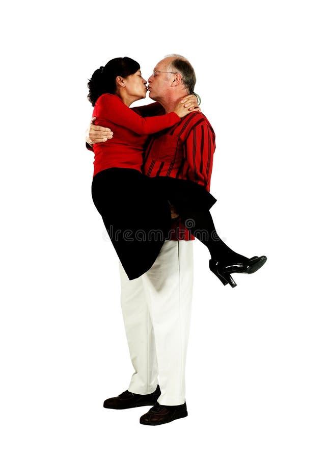 Mature mixed senior couple stock image
