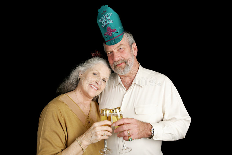 Mature New Years Couple royalty free stock photo