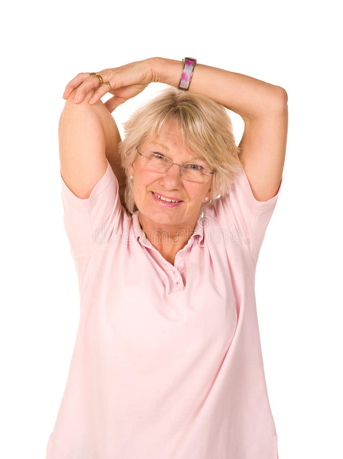Mature Older Lady Stretching Royalty Free Stock Photos