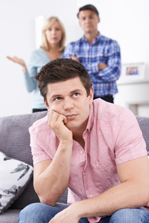 Mature Parents Frustrated With Adult Son Living At Home stock images