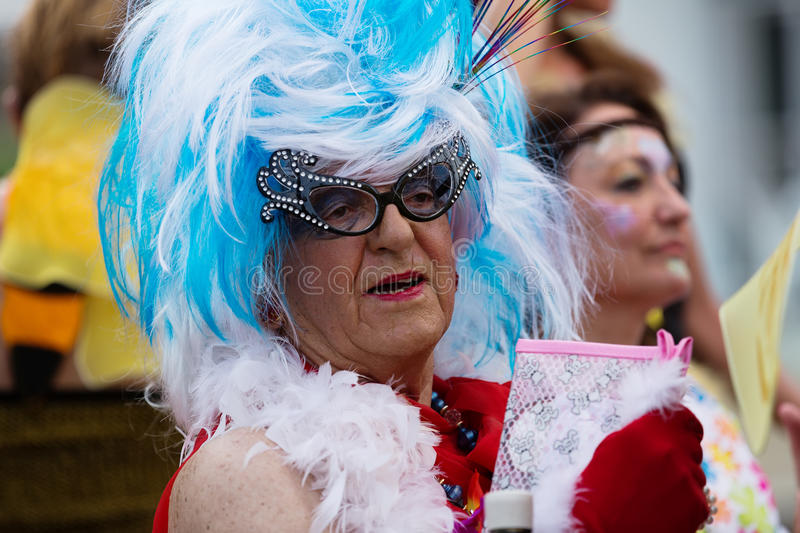 Mature performers at Gay pride parade in Sitges stock images