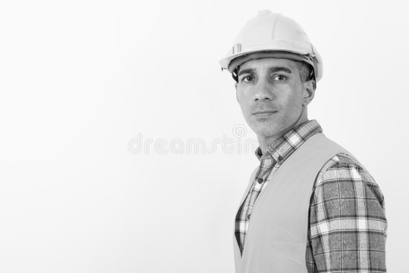 Mature Persian man construction worker in black and white stock photo