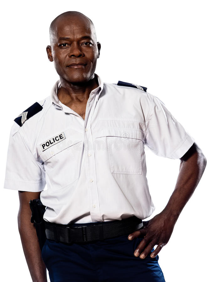 Mature Policeman With Hand On Waist Royalty Free Stock Photo