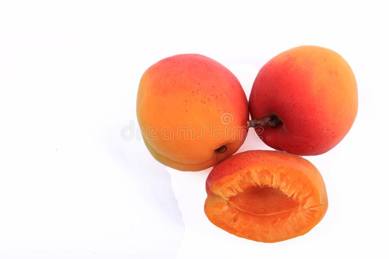 Ripe red apricot stock images