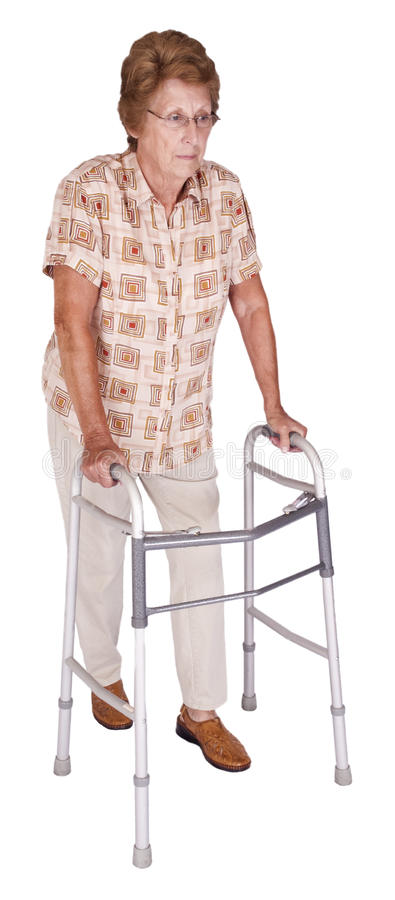 Mature Senior Elderly Woman Walker Aid Isolated