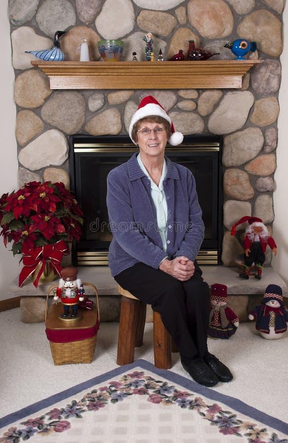 Mature Senior Woman Christmas Santa Claus Hat