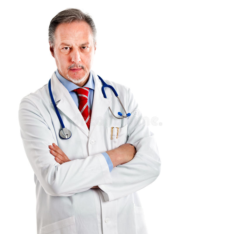 Mature serious doctor stock photo