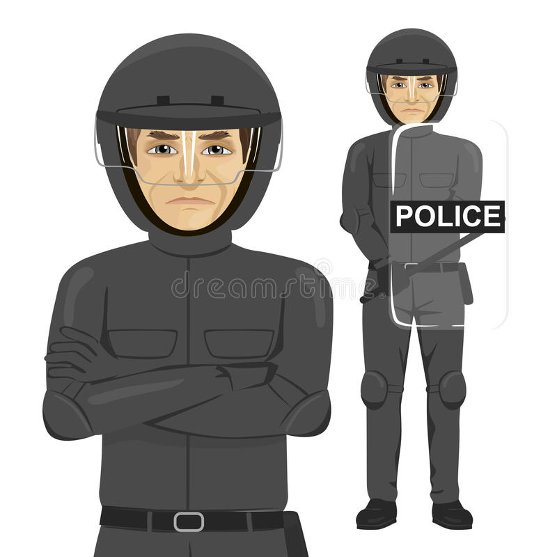 Mature serious police man riot officer. Standing over white background vector illustration