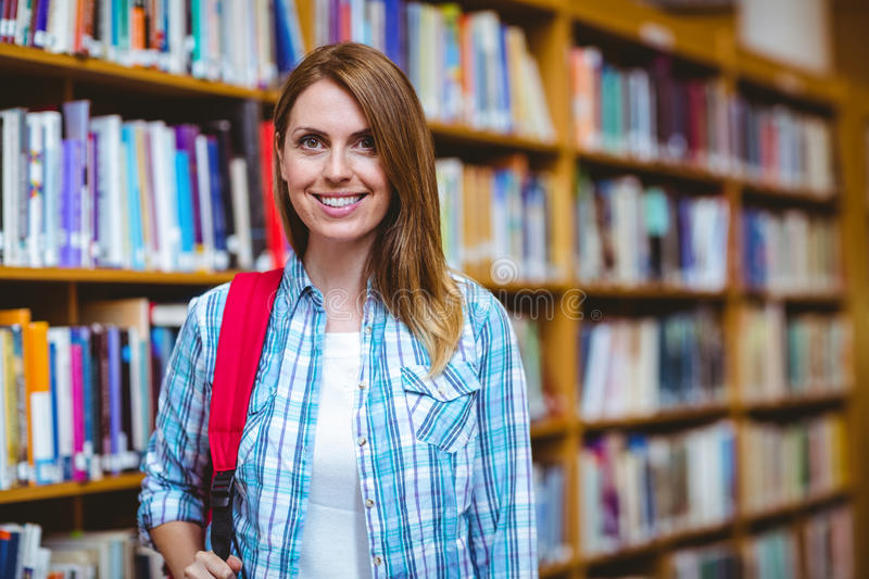 Mature student in the library stock images