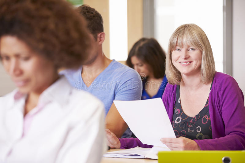 Mature Students In Further Education Class royalty free stock image