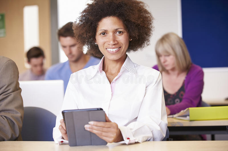 Mature Students In Further Education Class royalty free stock images