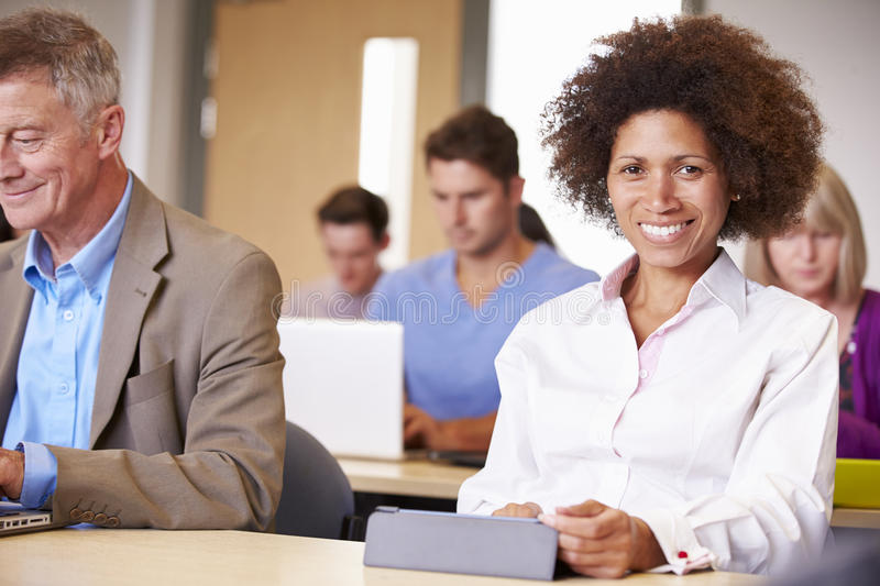 Mature Students In Further Education Class stock photo