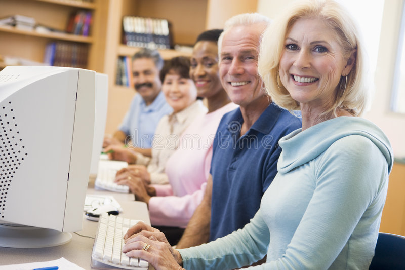 Download Mature Students Learning Computer Skills Stock Photo - Image of indoors, aged: 5948018